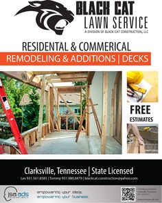 Black Cat Lawn Service  | JSA Ads  Check us out at jsanow.com  #advertising #marketing #promotion #design #Clarksville #Nashville #Tennessee