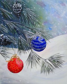 Pinot Noir & Paint - this is the painting we will be doing at our next paint night. It's an easy, fun Christmas theme painting with pine tree with ornaments.