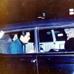 Elvis Presley, Priscilla Beaulieu and Dee Presley on their way to a New Years Eve party. December 31, 1966