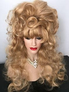 Beehive, Curls, Drag wig, Big Hair, Glamorous, Golden Blonde, Pale Blonde