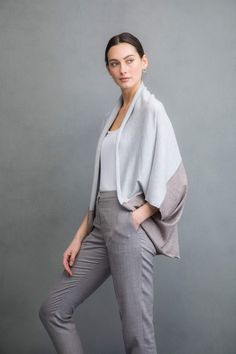 Shrug style silk and cashmere cardigan in light fawn and platinum