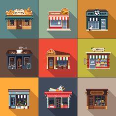 Restaurants and shops facade by TopVectors on Creative Market - facades exterior - Restaurant Building Illustration, Graphic Illustration, Shop Facade, Buch Design, Outdoor Cafe, Facade Design, Environment Design, Store Fronts, Motion Design