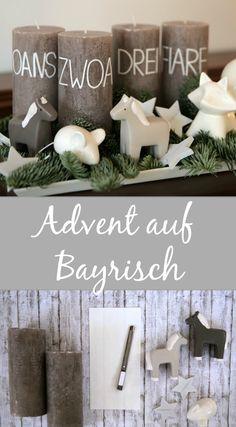 Oans, zwoa, drei, fiare – wir feiern den Advent dieses Jahr ohne Kranz, dafür mit einer ordentlichen Portion Zugereisten-Mundart. Bayrische Adventskerzen zum ratzfatz Selbermachen.