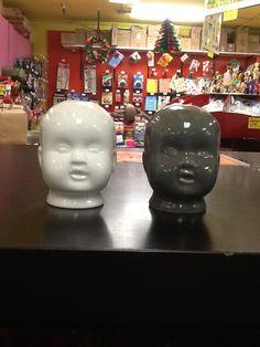 Creepy ceramic doll head salt & pepper shakers!