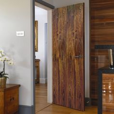 The Jb kind flush walnut veneered door is totally pre-finished, a rather dark and moody veneer at a great price that oozes style.