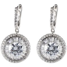 CZ By Kenneth Jay Lane Baguette & Round CZ Drop Earrings ($80) ❤ liked on Polyvore featuring jewelry, earrings, baguette jewelry, round earrings, cz by kenneth jay lane earrings, cz jewellery and cz drop earrings