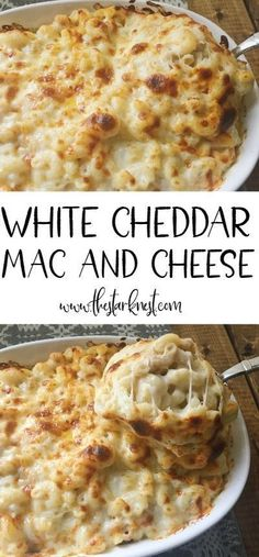 Baked White Cheddar Mac and Cheese This is HANDS DOWN the BEST mac and cheese on the planet! Made with white cheddar, mozzarella, and Muenster. Definitely adding this to our holiday menu! Cheddar Mac And Cheese, Best Mac And Cheese, White Cheddar, Mozzarella Mac And Cheese, Baked White Mac And Cheese Recipe, Oven Mac And Cheese, Best Mac N Cheese Recipe, Seafood Mac And Cheese, Cheesy Mac And Cheese