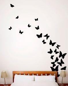 DecorDesigns Purple  Teal Butterflies  Flowers Scene Wall Decal - Wall decals butterflies