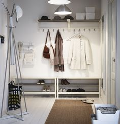 IKEA - TJUSIG, Bench with shoe storage, white, Holds a min. of 8 pairs of shoes. Coordinates with other products in the TJUSIG series. Furniture, White Hallway, Hat Rack, Bench With Shoe Storage, Interior, Ikea, Ikea Hallway, Shoe Storage, Mud Room Storage