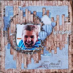 """""""You are awesome"""" - by Tina Ollett. Beautiful..! Papers from MajaDesign's Denim & Friends. #layout #LO #lo #scrapbooking #scrapbook #scrapping #scrap #papercraft #papercrafting #papercrafts #majadesign #majadesignpaper #majapapers #inspiration #vintage"""