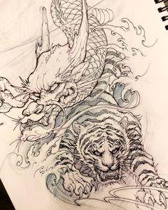 Dragon and tiger sketch. #chronicink #asiantattoo #asianink #irezumi #tattoo #sketch #illustration #drawing #dragon #tiger #irezumicollective