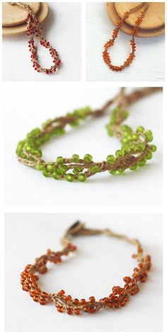 Linen beaded necklace Choose your color Rustic Natural Boho chic Bohemian jewelry Green Red Brown Orange Summer fashion Gift for her