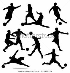 various isolated poses of soccer players in silhouettes - stock vector
