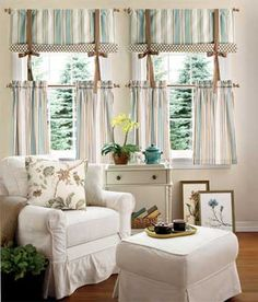Sweetwater Stripe Tier Curtains from Country Curtains.  I want to make these for myself - just the top part.