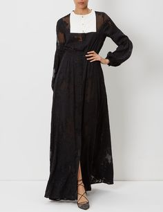 Black Bib Fil Coupé Caviar Gown | Macgraw | Avenue32