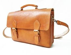 Brown Simple Laptop Bag Satchel Unisex by CoruscateLeatherBag