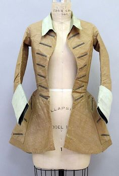 Riding Jacket: Early 18th century. French. Made of silk and wool. The riding jacket were flared out at the bottom which allowed for more comfort when riding on a horse. These jackets were tailored to fit and transitioned to everyday wear from being a more formal piece.