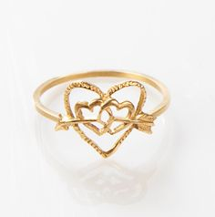 heart and arrow 14k gold ring by mayageller on Etsy, $99.00