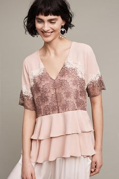Tiered Lace Blouse | Anthropologie