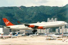 Virgin Atlantic, Airbus A340-300, G-VAEL, Hong Kong Kai Tak