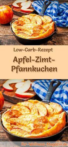 Low-Carb-Rezept für Apfel-Zimt-Pfannkuchen: Kohlenhydratarmes Frühstück - gesund, kalorienreduziert, ohne Getreidemehl ... #lowcarb #frühstück