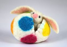 Needle Felted Easter Bunny in a Wool Felted Easter Egg by MiaPuPe, $28.00
