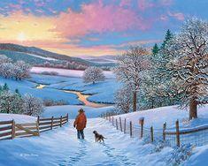 Rise and Shine © John Sloane Fantasy Landscape, Winter Landscape, Landscape Art, Landscape Paintings, Christmas Landscape, Beautiful Winter Pictures, Winter Images, Seasonal Image, Autumn Scenery