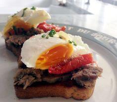 Homemade duck confit with slow cooked Roma tomatoes and our gorgeous soft centred free range eggs on top of our housemade brioche toast... #brunch #bistro