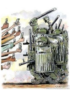 cartoon of cellphones vs. riot police...(anyone know source?)