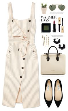 """""""Warmer Days Ahead: Spring Dresses"""" by catchsomeraes ❤ liked on Polyvore featuring Altuzarra, Jimmy Choo, Strathberry, Oscar de la Renta, Kat Von D, Bobbi Brown Cosmetics, H&M, Givenchy, TIBI and springdresses"""
