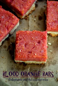elephants and the coconut trees: Blood Orange Bars #comfortfoodfeast ......  Crisp shortbread base (simple hand mixed dough) with sweet and soft filling on top (ingredients mixed only till combined). Easy recipe.