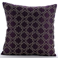 Deep Purple Euro Sham Covers 24x24 Inches Purple Silk Bead Embroidered Pillows for Couch and Bed Magical Chase by TheHomeCentric on Etsy