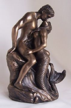 Mermaid & Sailor Bronze Nude Lovers Sculpture By O Tupton Great Anniversary or Wedding Gift Idea by Thorne Antiques & Collectables, http://www.amazon.co.uk/dp/B001A2CQMM/ref=cm_sw_r_pi_dp_uvalrb014ZXDV
