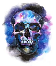 mistakeann.com watercolor, painting, art, ecoline, illustration, space, universe, galaxy, skull