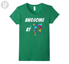Womens Awesome At 11 T-shirt Autistic 11 Years Old Birthday Gifts Small Kelly Green - Birthday shirts (*Amazon Partner-Link)