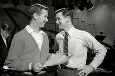 "Talk host Johnny Carson and his brother Dick, who directed the ""Tonight"" show, in New York in 1962. From photos taken for ""Johnny Carson: Nighthood's New Prince,"" an article in the April 23, 1963, issue of Look magazine. View full size."