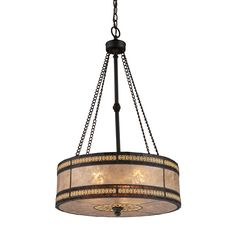 Featuring a stunning Tiffany bronze and tan mica finish, this Elk Mica Filigree 3-light Pendant will add a beautiful sense of light to your home. Crafted of metal, mica, glass, this pendant will enhance your decor style.