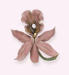 Art Nouveau esmalte, esmeralda y diamantes broche de la orquídea - por Tiffany
