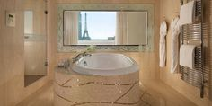 Signature Eiffel Suites at Hotel Plaza Athenee Luxury Hotel Bathroom, Paris Bathroom, Hotel Bathrooms, Asian Bathroom, Dorchester Collection, Deep Soaking Tub, Floor To Ceiling Windows, Romantic Vacations, Beautiful Hotels