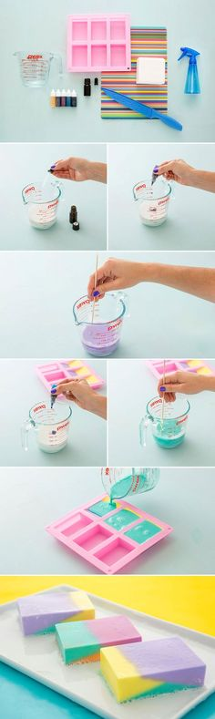 cool How to Make Modern Color Block Soap