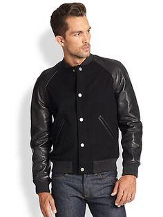 A.P.C. - Teddy Leather-Sleeve Varsity Jacket - Saks.com