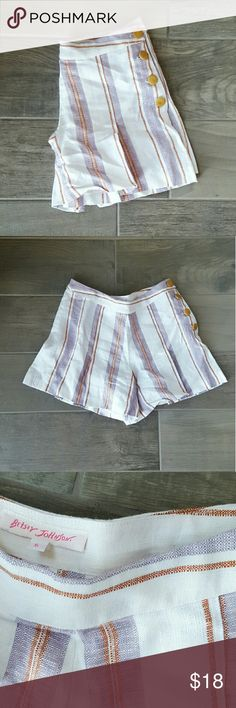 "Betsey Johnson Linen Pleated Striped Shorts Adorable and comfy. Look polished for summer in these lightweight cotton/linen shorts featuring stripes, pleats, and wooden side button closure. Approx. 16"" waist, 4"" inseam, and 16"" total length. Excellent condition no signs of wear or damage. Betsey Johnson Shorts"