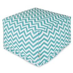 Majestic Home Goods 85907220299 Teal Chevron Large Ottoman