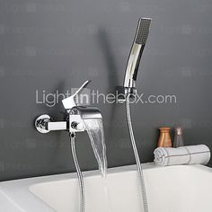 Wall Mounted Chromed Contempo Roman Bathroom Waterfall Faucet With Hand Shower - USD $99.89