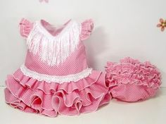 Traje de gitana flamenca para bebe realizado a mano por nuestras propias modistas. Consulta nuestra tienda online www.mibebesito.es Victoria, Rompers, Sewing, Crochet, Skirts, Tops, Dresses, Women, Fashion