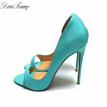 Dorisfanny/из натуральной лакированной кожи 2017 Летний стиль пикантные высокий каблук сандалии женские Босоножки с открытым носком обувь синий(China (Mainland))