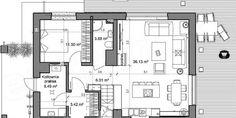 Proiect casa mica cu mansarda de 115 mp + fotografii cu interiorul | CasaPost.ro Floor Plans, How To Plan, Interior, House, Indoor, Home, Interiors, Homes, Floor Plan Drawing