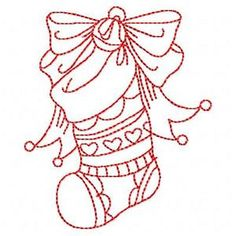 Christmas Redwork Embroidery Designkinshipkreations