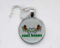 Cool Beans Keychain funny cartoon keyring by HConwayPhotography, $8.00