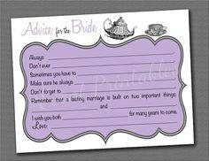 Printable Bridal Shower Advice Cards, DIY Tea Party, Mad Libs, Vintage Tea Cup, Alice in Wonderland, Custom Color by Event Printables